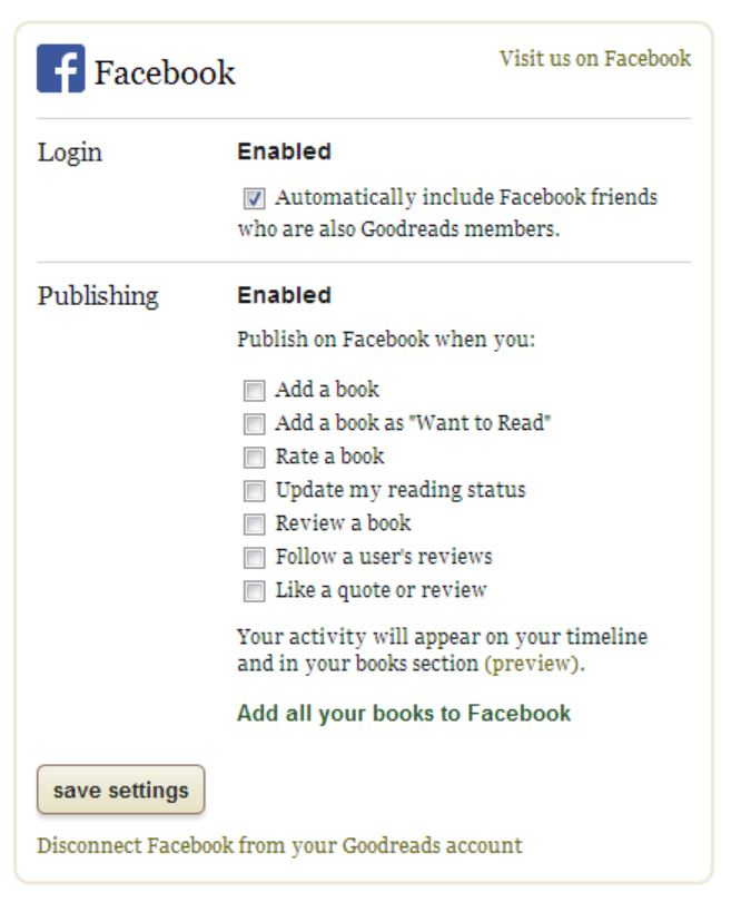 Goodreads sync Facebook