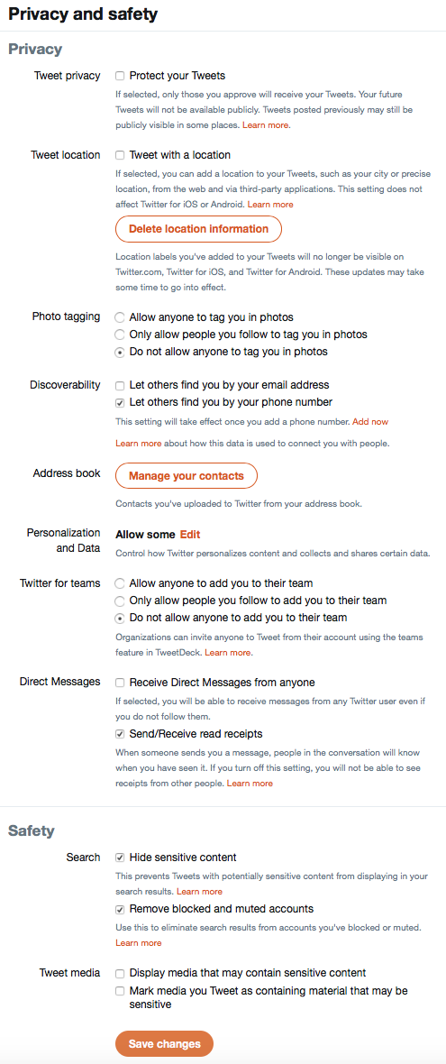 Twitter privacy settings